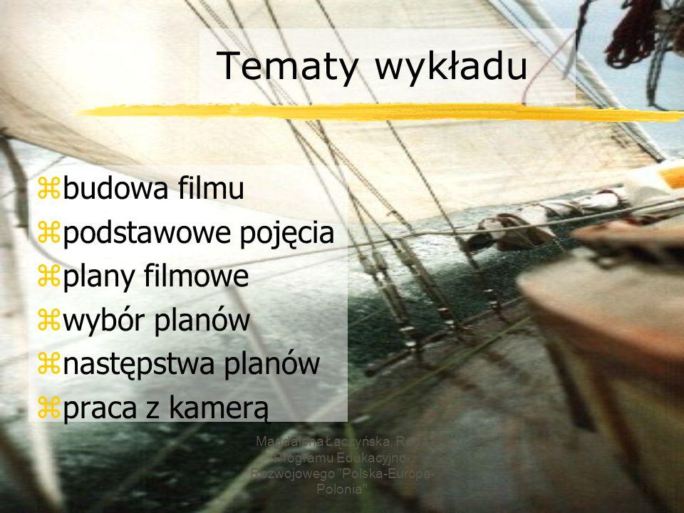 Tematy wykładu budowa filmu podstawowe pojęcia plany filmowe