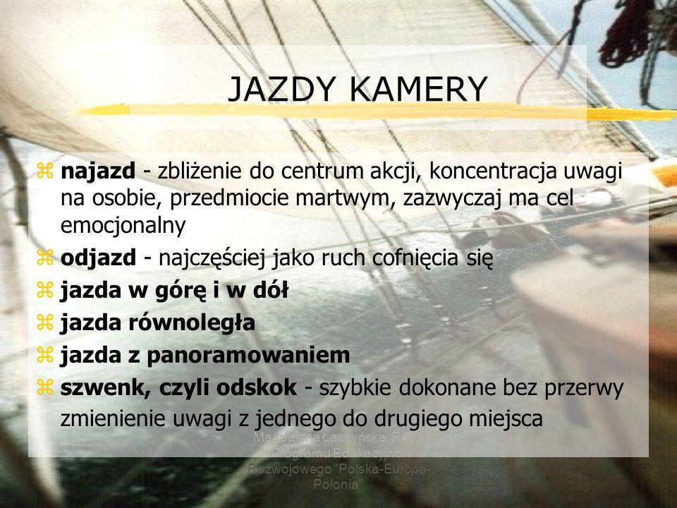 2017-03-22 JAZDY KAMERY. najazd - zbliżenie do centrum akcji, koncentracja uwagi na osobie, przedmiocie martwym, zazwyczaj ma cel emocjonalny.