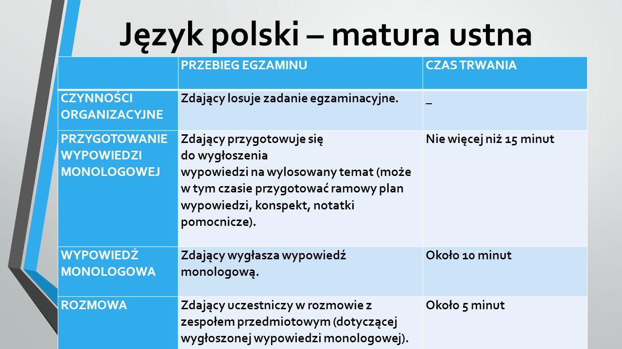 Język polski – matura ustna