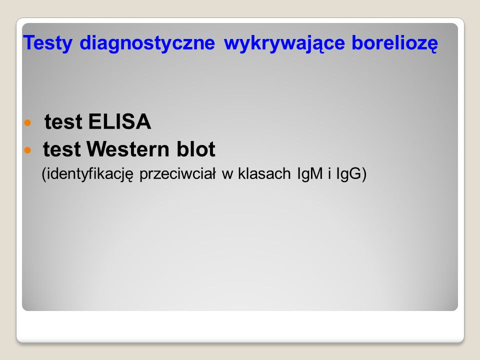 test ELISA test Western blot Testy diagnostyczne wykrywające boreliozę