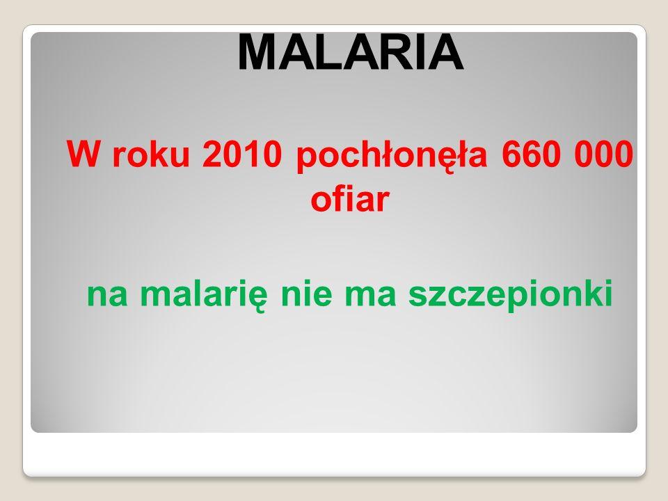 W roku 2010 pochłonęła 660 000 ofiar na malarię nie ma szczepionki