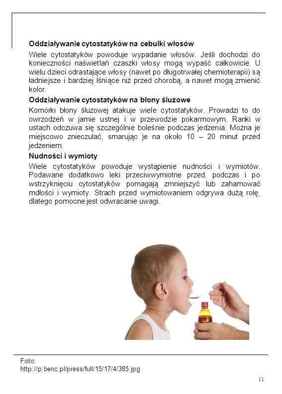 Oddziaływanie cytostatyków na cebulki włosów