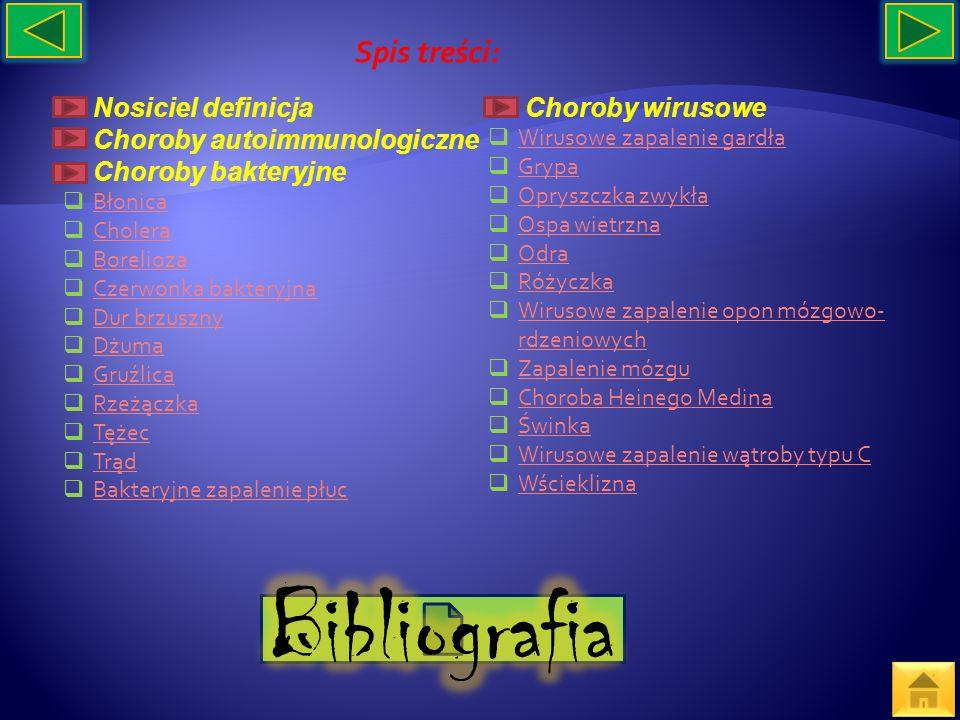 Bibliografia Spis treści: Nosiciel definicja Choroby wirusowe