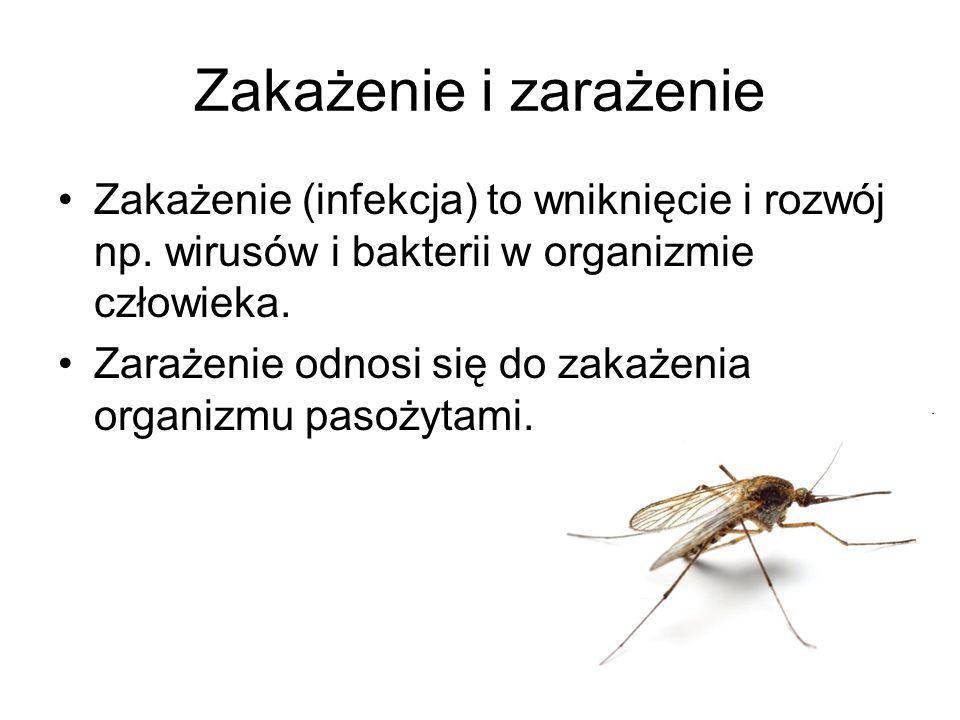 Zakażenie i zarażenie Zakażenie (infekcja) to wniknięcie i rozwój np. wirusów i bakterii w organizmie człowieka.