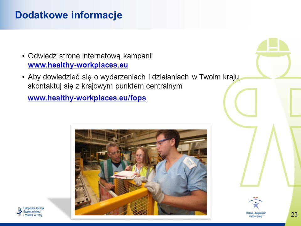 Dodatkowe informacje Odwiedź stronę internetową kampanii www.healthy-workplaces.eu.