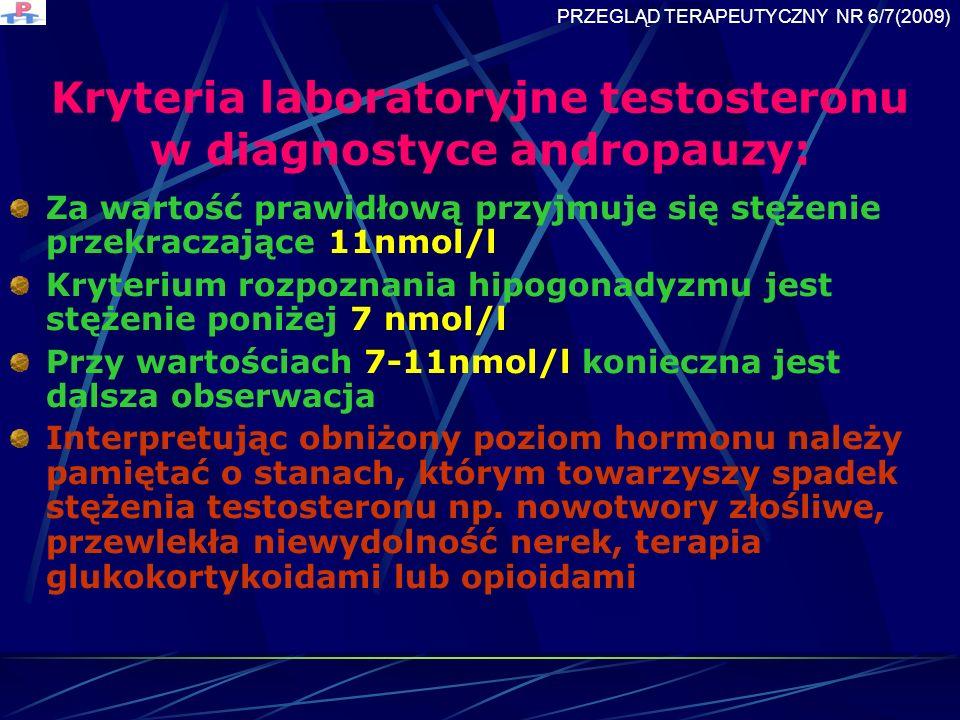 Kryteria laboratoryjne testosteronu w diagnostyce andropauzy: