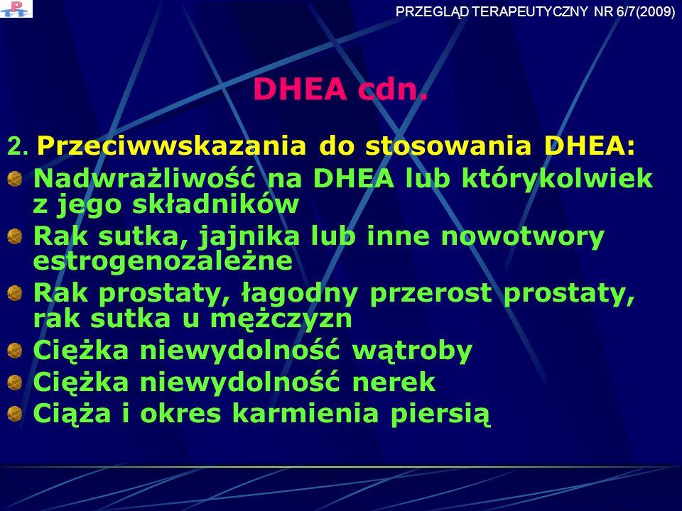 DHEA cdn. 2. Przeciwwskazania do stosowania DHEA:
