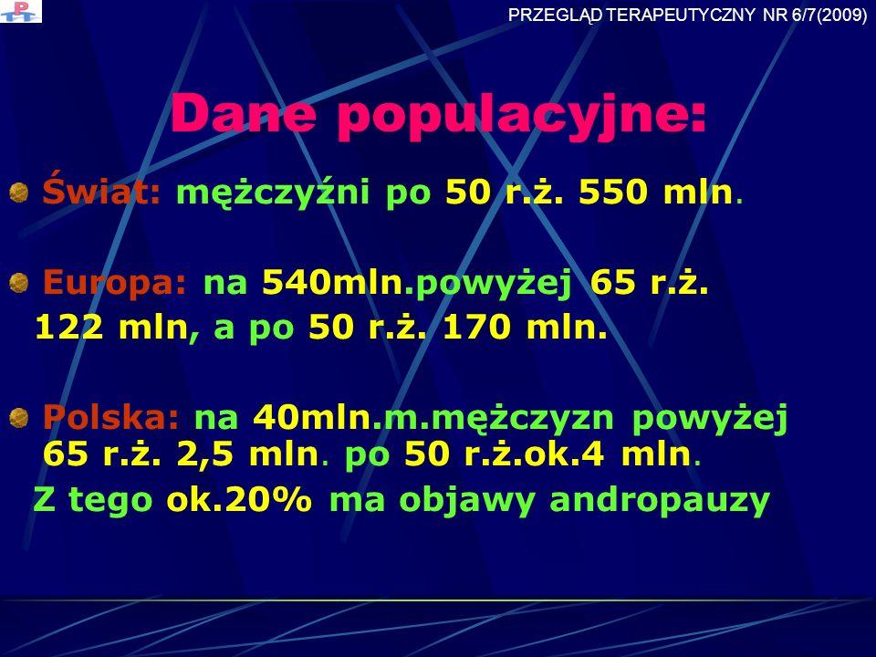 Dane populacyjne: Świat: mężczyźni po 50 r.ż. 550 mln.
