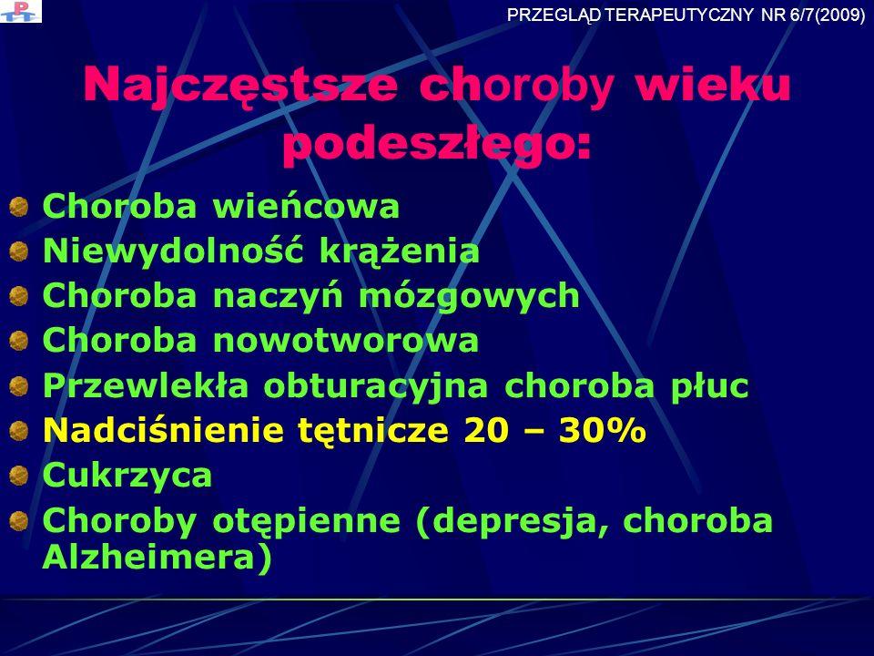 Najczęstsze choroby wieku podeszłego: