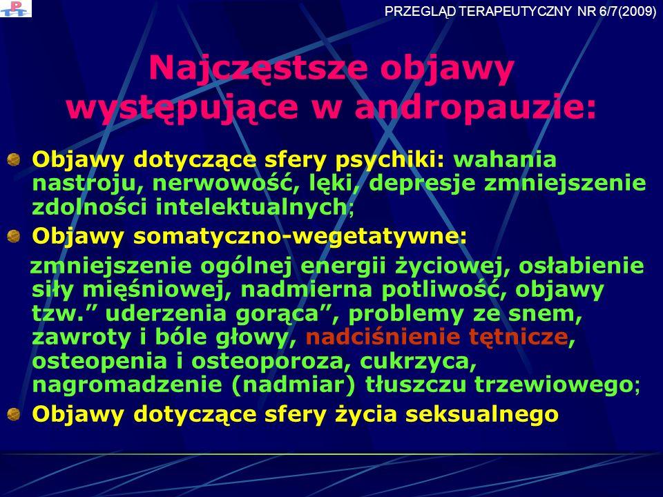 Najczęstsze objawy występujące w andropauzie: