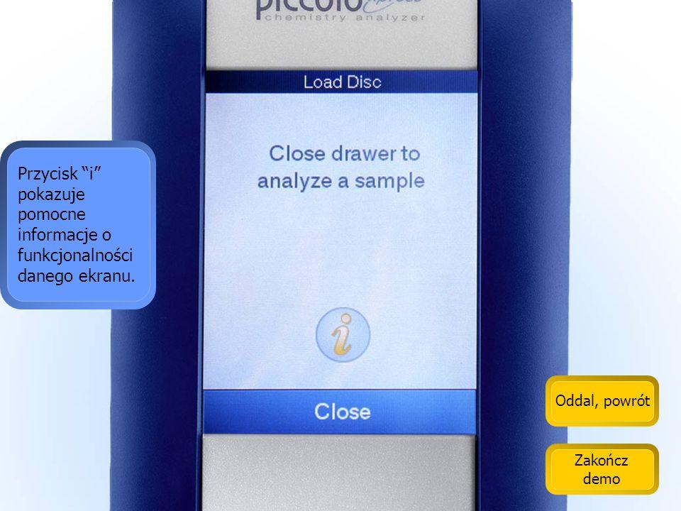 Przycisk i pokazuje pomocne informacje o funkcjonalności danego ekranu.