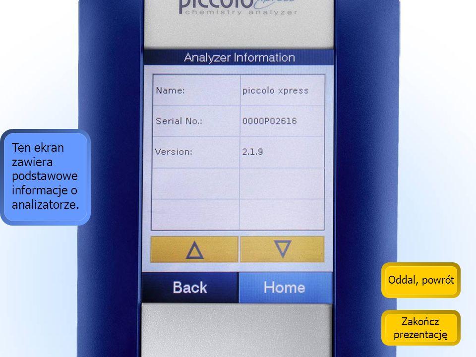 Ten ekran zawiera podstawowe informacje o analizatorze.