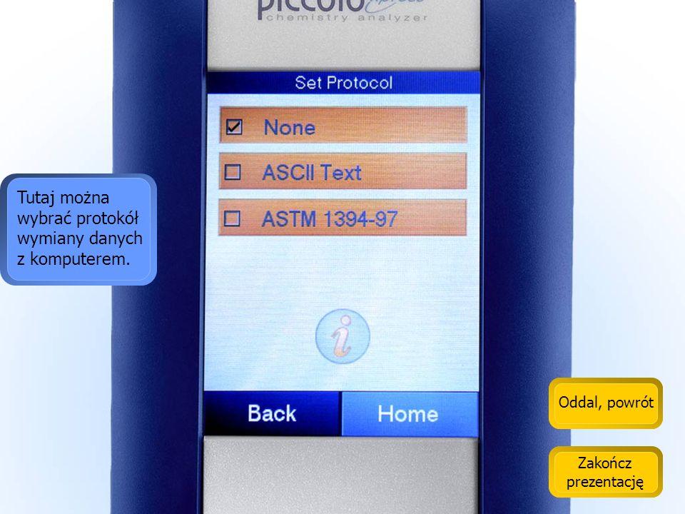 Tutaj można wybrać protokół wymiany danych z komputerem.