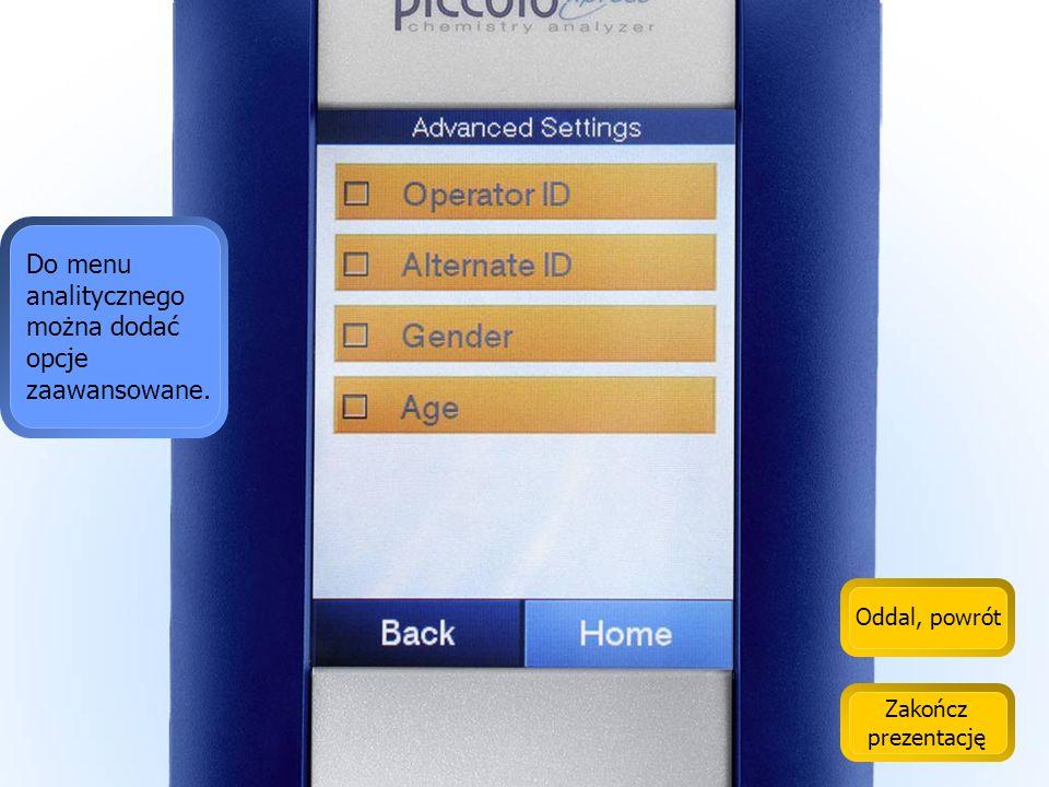 Do menu analitycznego można dodać opcje zaawansowane.