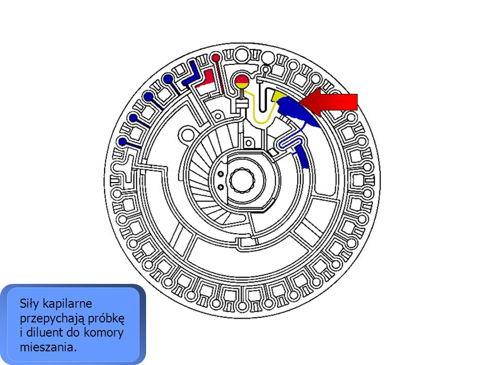 Siły kapilarne przepychają próbkę i diluent do komory mieszania.