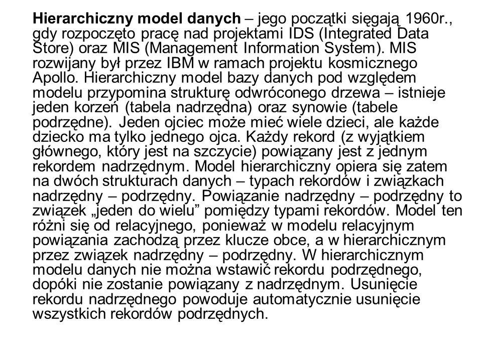 Hierarchiczny model danych – jego początki sięgają 1960r