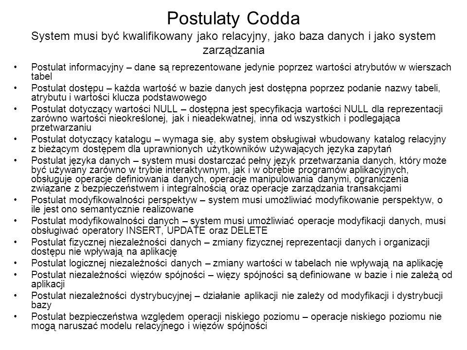 Postulaty Codda System musi być kwalifikowany jako relacyjny, jako baza danych i jako system zarządzania