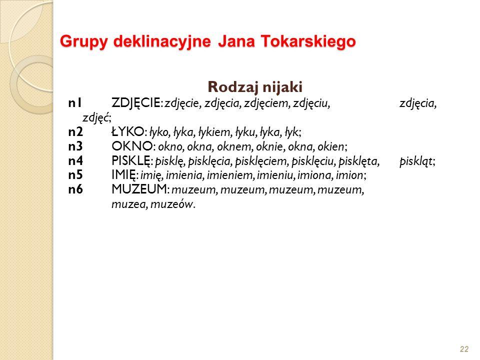 Grupy deklinacyjne Jana Tokarskiego