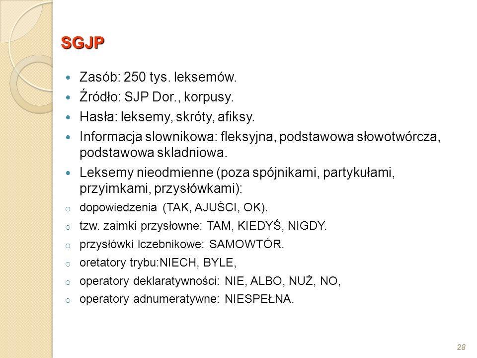 SGJP Zasób: 250 tys. leksemów. Źródło: SJP Dor., korpusy.
