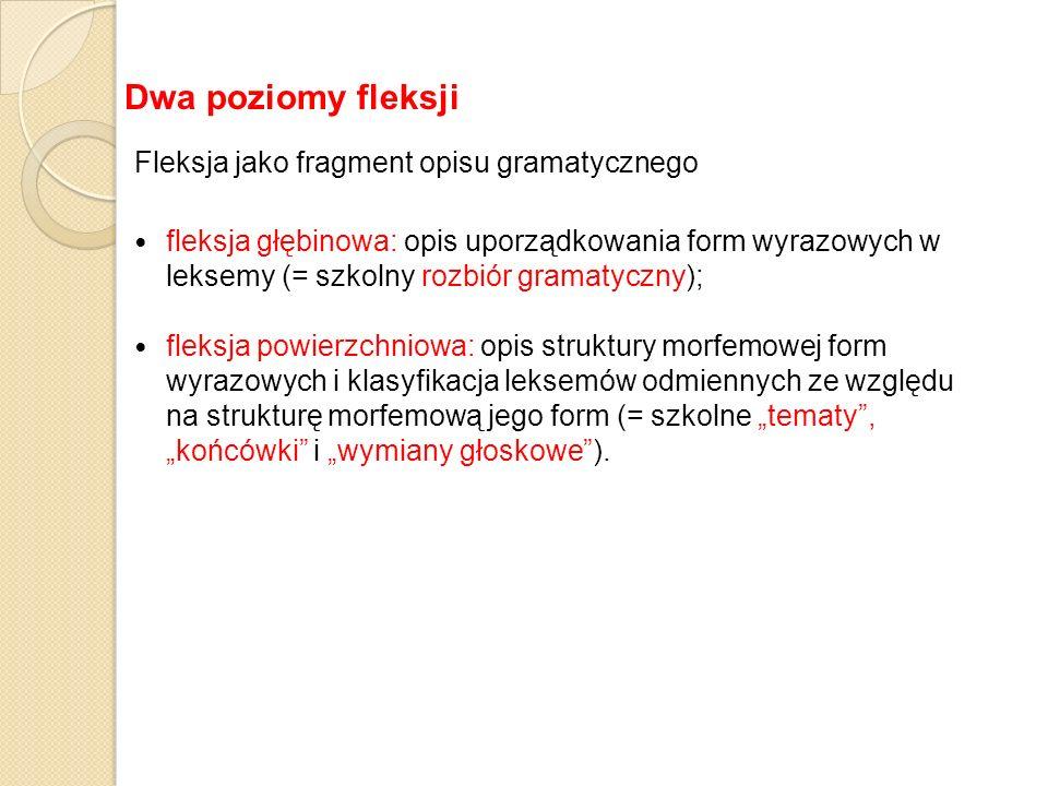 Dwa poziomy fleksji Fleksja jako fragment opisu gramatycznego