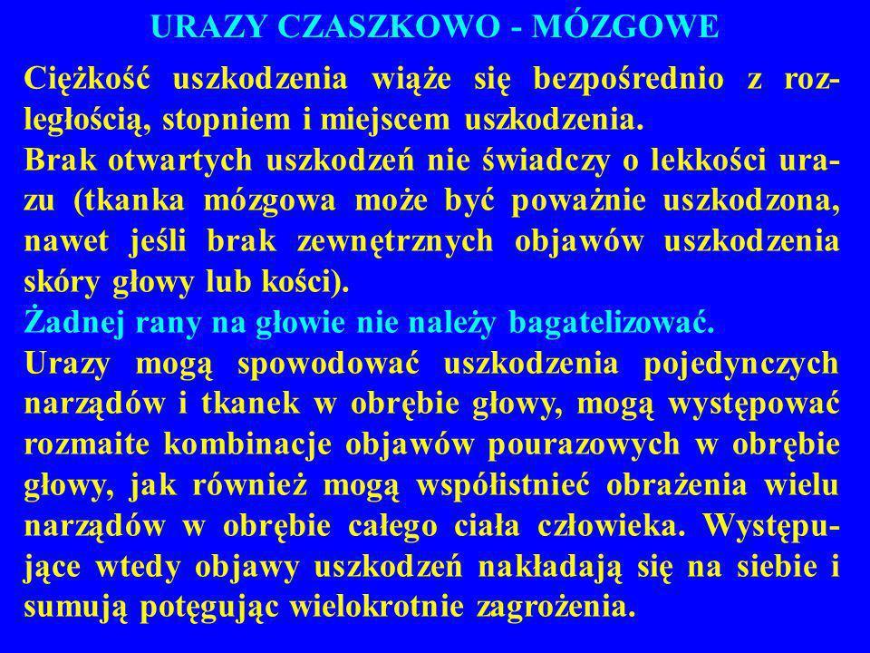 URAZY CZASZKOWO - MÓZGOWE