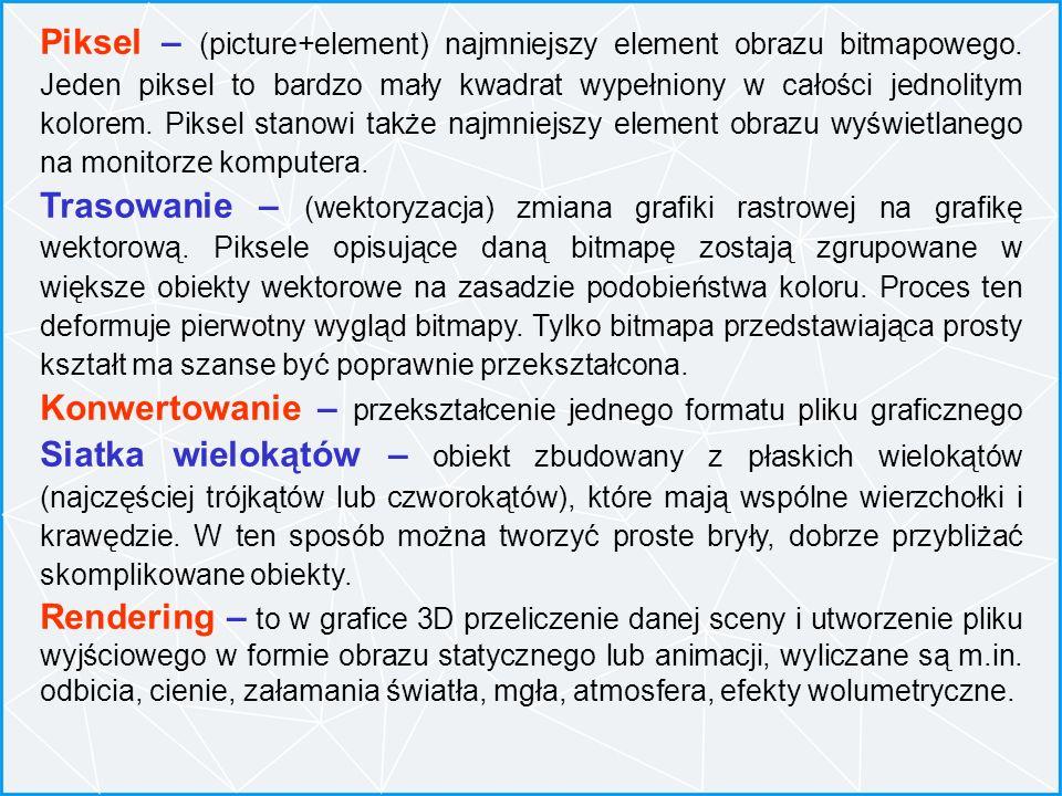 Piksel – (picture+element) najmniejszy element obrazu bitmapowego