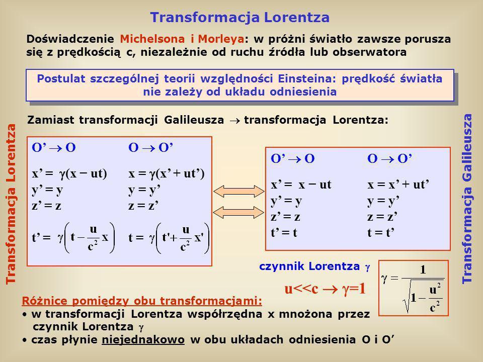 u<<c  =1 Transformacja Lorentza O'  O O  O' O'  O O  O'