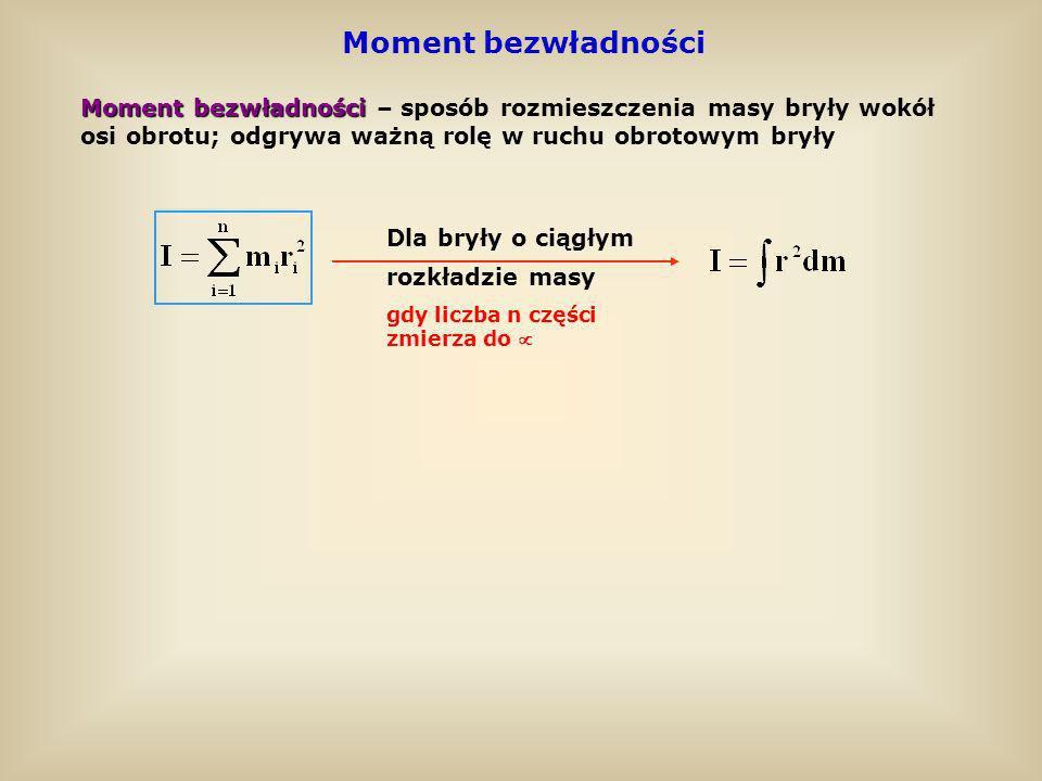 Moment bezwładności Moment bezwładności – sposób rozmieszczenia masy bryły wokół. osi obrotu; odgrywa ważną rolę w ruchu obrotowym bryły.