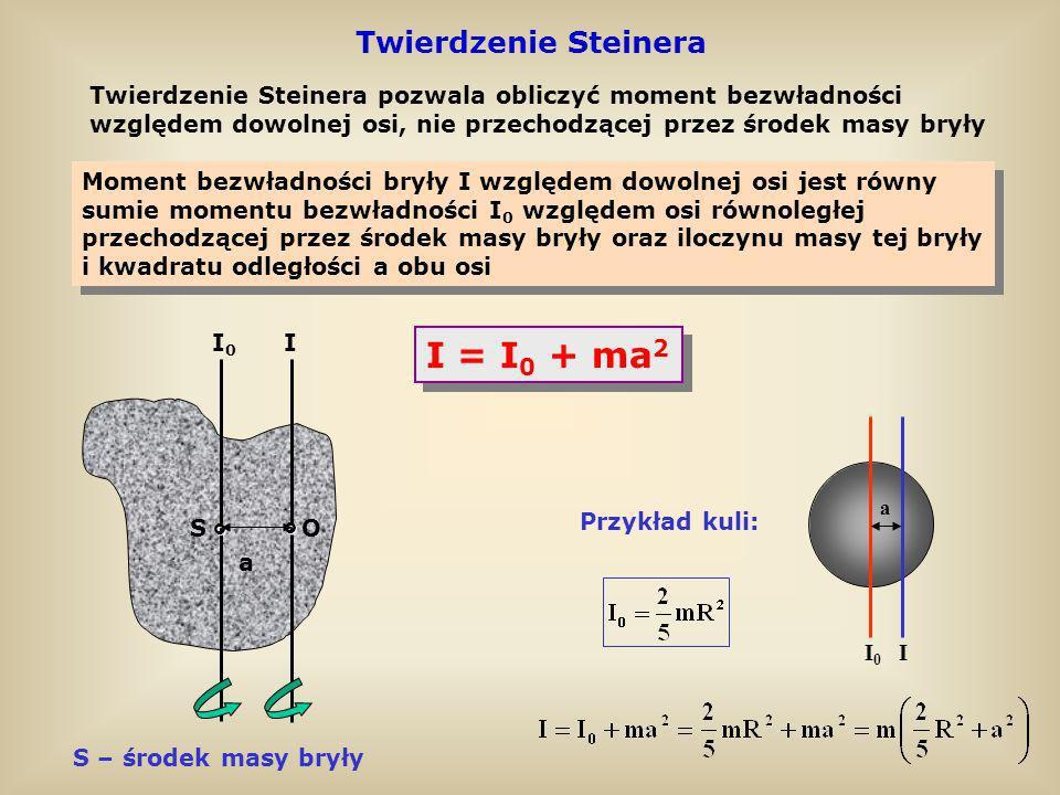 I = I0 + ma2 Twierdzenie Steinera °