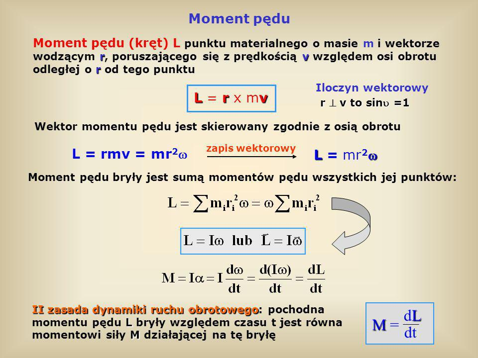 dL M = dt Moment pędu L = r x mv L = rmv = mr2 L = mr2