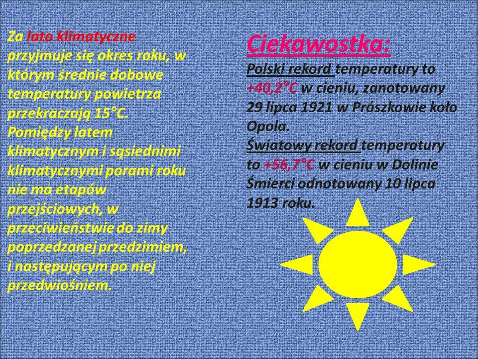 Ciekawostka: Polski rekord temperatury to +40,2°C w cieniu, zanotowany 29 lipca 1921 w Prószkowie koło Opola.