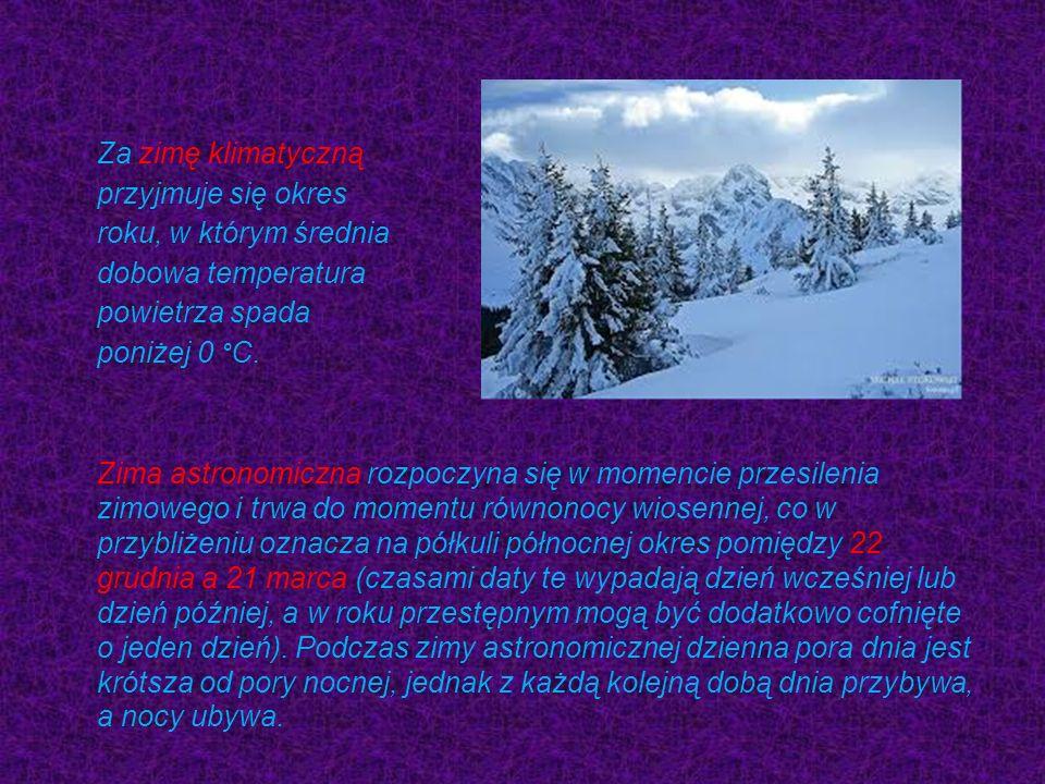 Za zimę klimatyczną przyjmuje się okres roku, w którym średnia dobowa temperatura powietrza spada poniżej 0 °C.