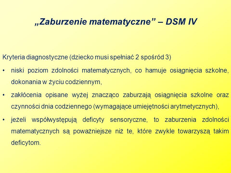 """""""Zaburzenie matematyczne – DSM IV"""
