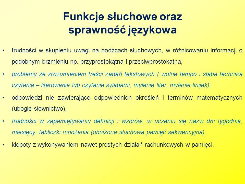Funkcje słuchowe oraz sprawność językowa