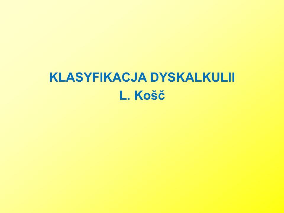 KLASYFIKACJA DYSKALKULII L. Košč