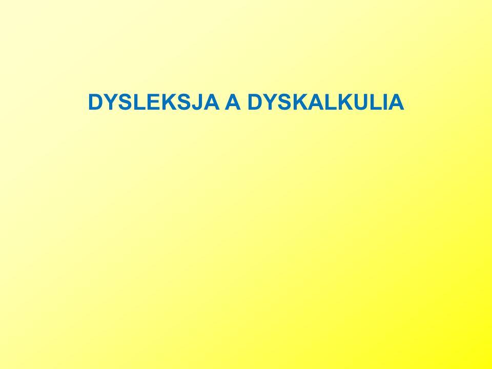 DYSLEKSJA A DYSKALKULIA