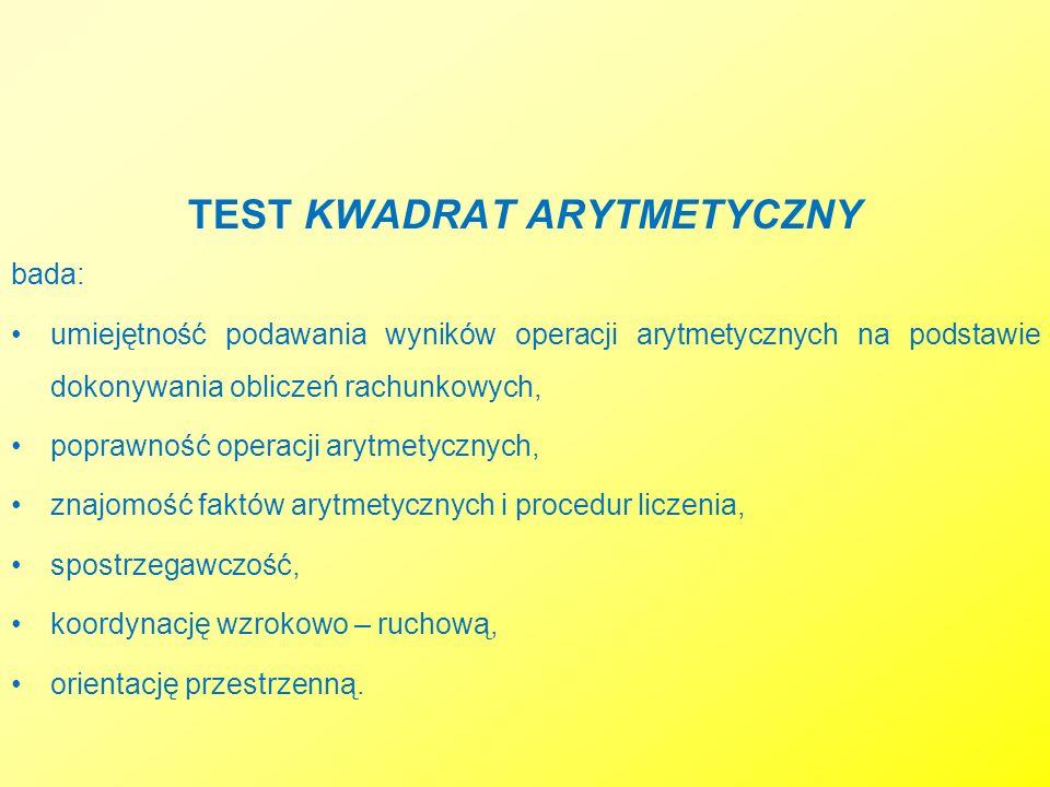 TEST KWADRAT ARYTMETYCZNY