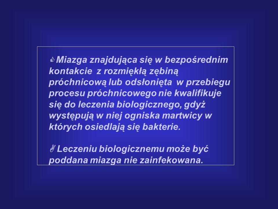  Leczeniu biologicznemu może być poddana miazga nie zainfekowana.