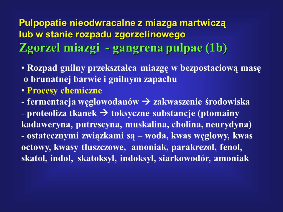 Zgorzel miazgi - gangrena pulpae (1b)