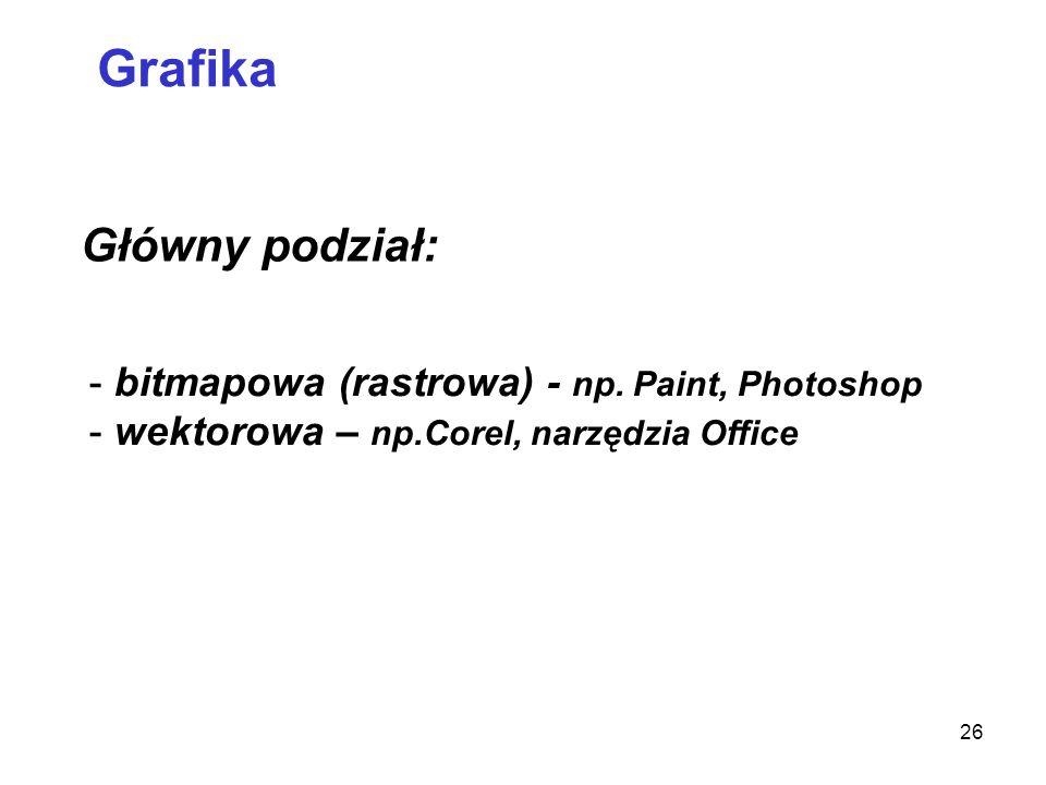 Grafika Główny podział: bitmapowa (rastrowa) - np. Paint, Photoshop