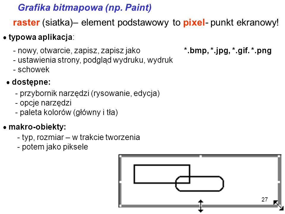 Grafika bitmapowa (np. Paint)