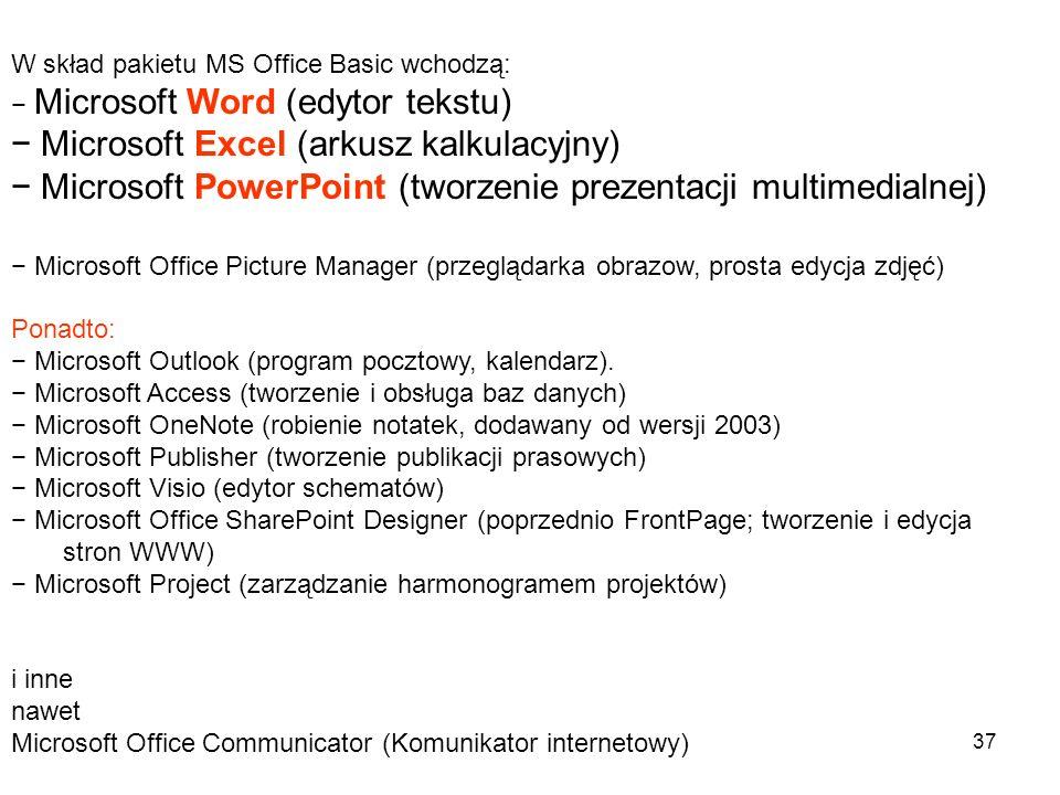 − Microsoft Excel (arkusz kalkulacyjny)