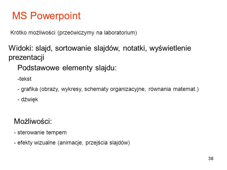 MS Powerpoint Krótko możliwości (przećwiczymy na laboratorium) Widoki: slajd, sortowanie slajdów, notatki, wyświetlenie prezentacji.