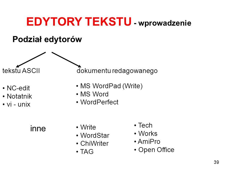 EDYTORY TEKSTU - wprowadzenie