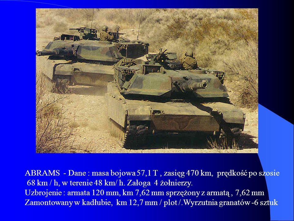 ABRAMS - Dane : masa bojowa 57,1 T , zasięg 470 km, prędkość po szosie