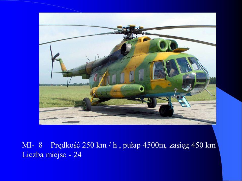 MI- 8 Prędkość 250 km / h , pułap 4500m, zasięg 450 km