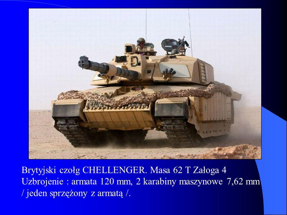 Brytyjski czołg CHELLENGER. Masa 62 T Załoga 4