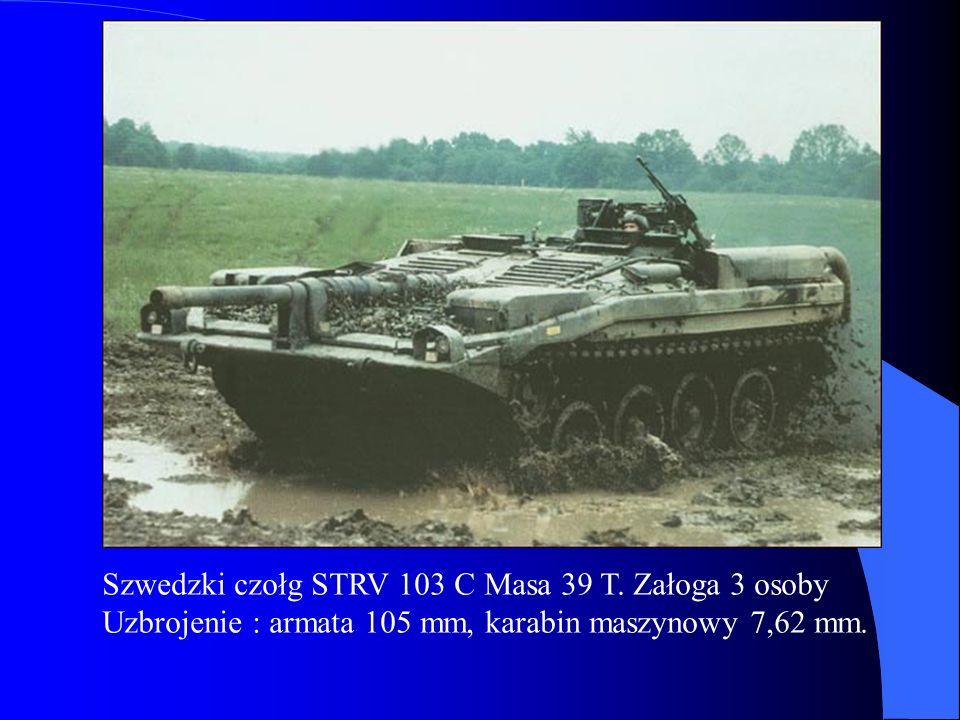 Szwedzki czołg STRV 103 C Masa 39 T. Załoga 3 osoby