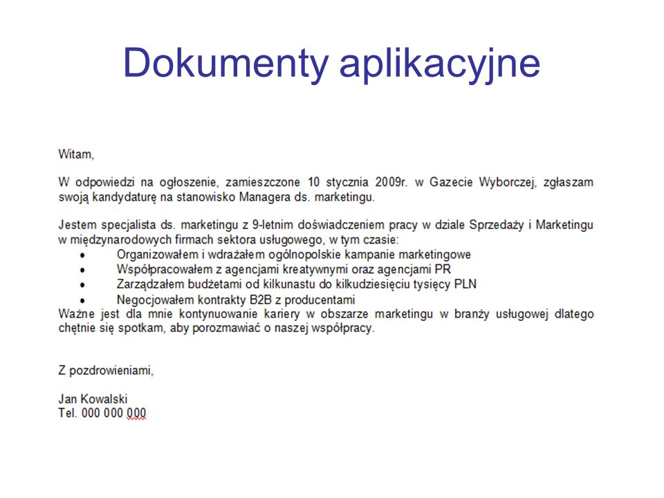 Dokumenty aplikacyjne