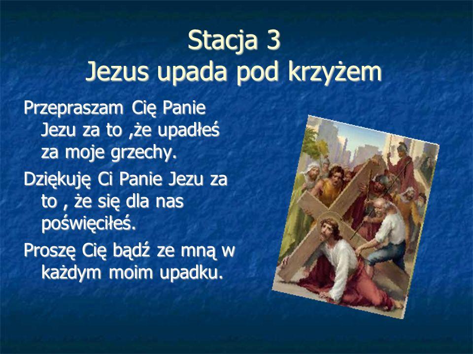 Stacja 3 Jezus upada pod krzyżem